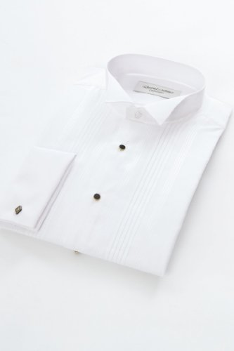 Wing Collar Pleated front Dress shirt 18inch Neck, White