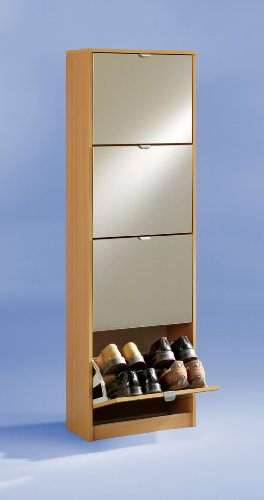 PREMIUM Compact Mirrored 4 Compartment Shoe Rack Storage Cabinet Unit in Beech Colour - by DMF