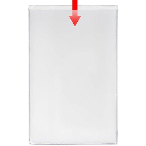 "Storesmart® Remove & Reuse - 100 Peel & Stick Pockets - 5 1/8"" X 8 1/8"" - Open Short Side - Vinyl Plastic - Psr2113S-100 front-640197"