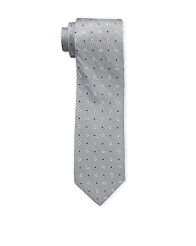 Bruno Piattelli Men's Spaced Teardrop Silk Tie, Silver