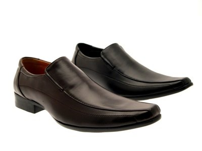 MENS SLIP ON MULES LOAFERS SHOES BLACK BROWN POLISHED FAUX LEATHER SIZE 6 -11