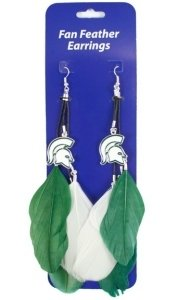 Michigan State Spartans Team Color Feather Earrings
