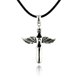 Merdia Fashion Titanium Steel Angel Wings with Sword Pendant Genuine Leather Rope Chain Necklace