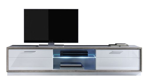 Trendteam 1233-321-25 Lowboard TV Schrank TV Board TV-Unterteil Gap hochglanz weiss (B/H/T) 208 x 43 x 47 cm