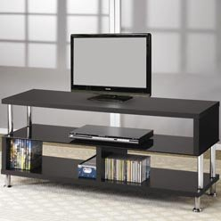 Cheap TV Stands Contemporary Media Console with Glass and Chrome Accents by Coaster (B0051PBSOG)