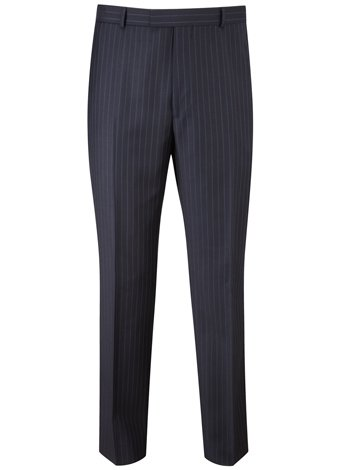 Austin Reed Contemporary Fit Navy Stripe Trousers SHORT MENS 32