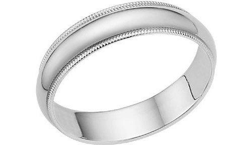 14K White Gold 5mm Milligrain Wedding Band Ring