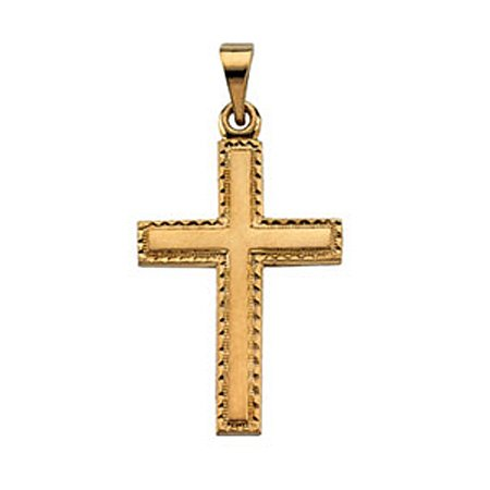 Cross Pendant in 14k Gold - 20mm - Christian Solitaire