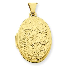 Genuine IceCarats Designer Jewelry Gift Gold-Plated Sterling Silver Oval Scroll Locket