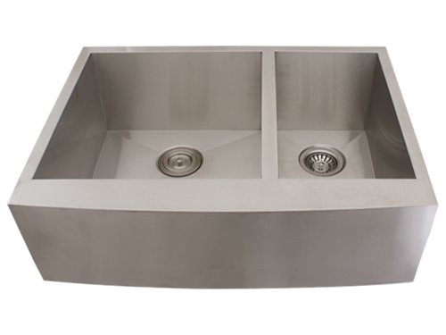 ... Apron 16-Gauge Stainless Steel Double Bowl Curved Front Kitchen Sink