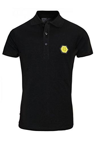 """Philipp Plein """"Shape Black Yellow"""" Schwarz Shirt Polo Poloshirt Designer Bedruckt Für Herren und Männer Slim Fit Slim Fit Kragen mit Print und Applikationen (XXL) thumbnail"""