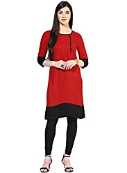 Varibha Girl's Branded Stitched Solid Red Cotton Silk Low Price Kurti (Best Gift For Your Friend, Girlfriend, Wife, Sister, Casual, Free Size alterable till 42)