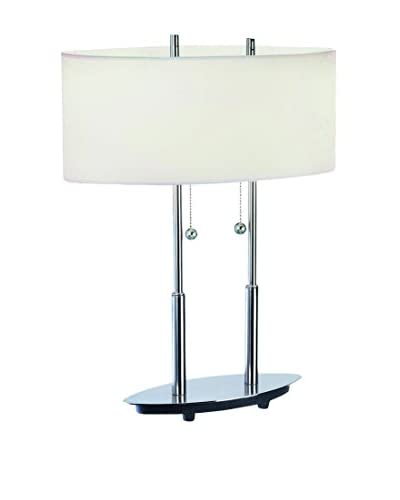 Lite Source Bliss Table Lamp, Polished Steel/Off-White