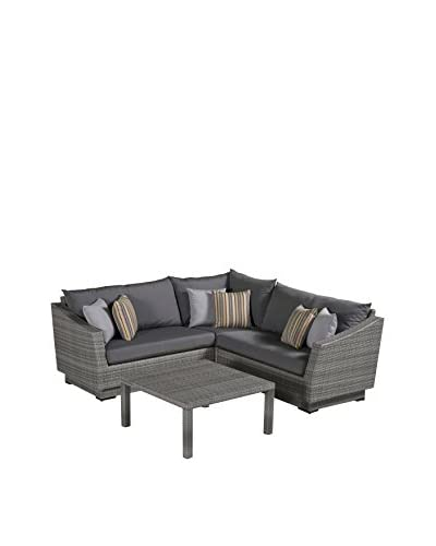RST Brands Cannes 4-Piece Corner Sectional and Table, Grey