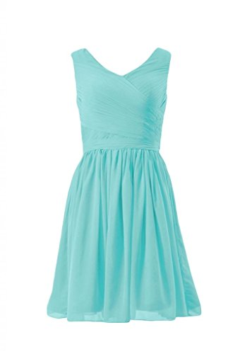 Daisyformals Short V-Neck Chiffon Bridesmaid Dress(Bm5196M)- Tiffany Blue