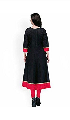 AnjuShree-Choice-Womens-Black-Cotton-Anarkali-Stitched-Kurti