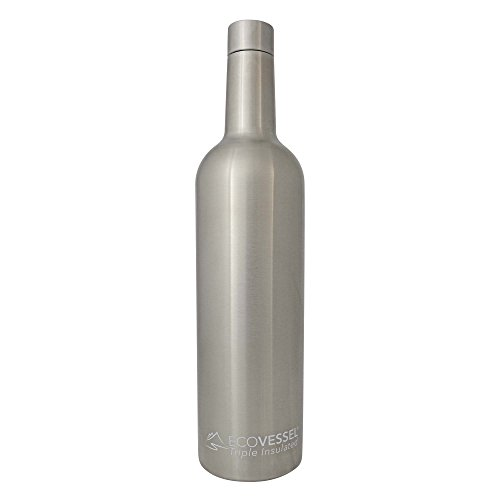 EcoVessel The Vine Insulated Wine Bottle, 25 Ounces, Silver