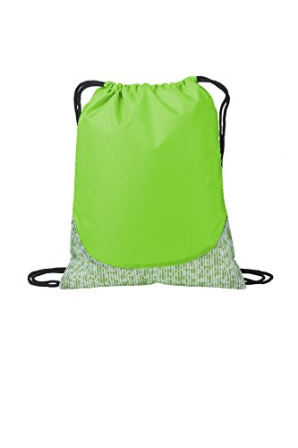 Port Authority luggage-and-bags Patterned Cinch Pack OSFA Digital Lime Green
