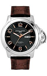 Jorg Gray Leather Black Dial Men's watch #JG1850-19
