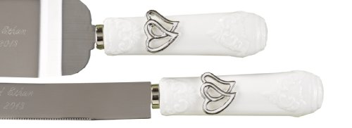 Hortense B. Hewitt Wedding Accessories, Cake And Knife Serving Set, Linked Hearts
