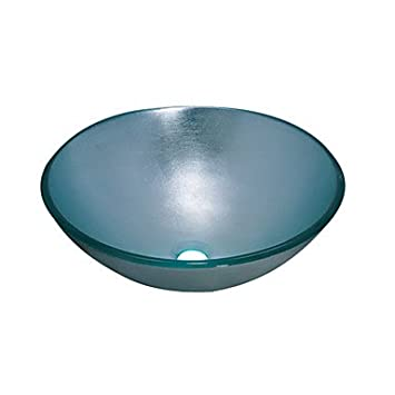 Blue Round Tempered glass Vessel Sink