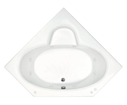 Sea Spa Tubs S6060Swl Tubs Sublime 60 By 60 By 23-Inch Corner Whirlpool Jetted Bathtub, White