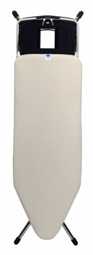 Brabantia Ironing Board with Foldable Steam Unit Holder, Size C, 124 x 45cm, 25mm Ivory Frame, Ecru