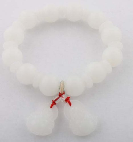 White Glass Beaded Balls with Buddah Charms Shamballah Style Stretch Bracelet