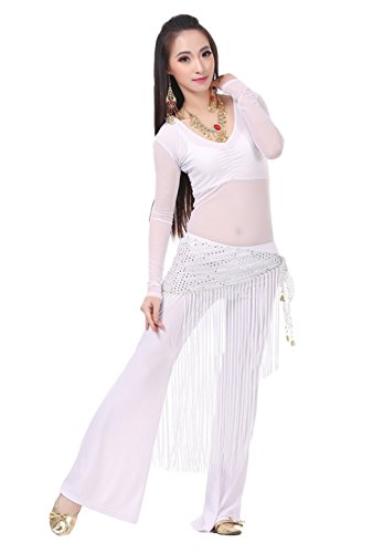 AvaCostume Belly Dance Transparent Tee Yoga Pant Mesh Tassels Hip Scarf