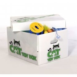 Cat Toy Storage Boxes (White) (10.25″H x 13.25″W x 17.75″D)