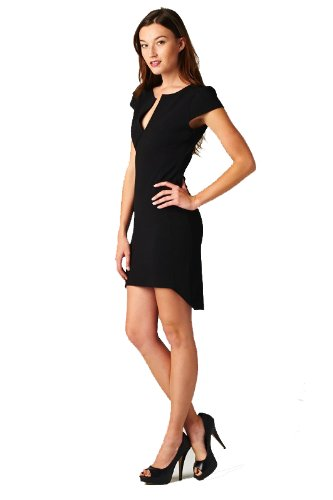 On Trend Little Black Dress with Cap Sleeves (Small)