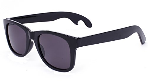 Laura Fairy Men's Fashion Bottle Opener Temple Design Square Sunglasses-black (black)