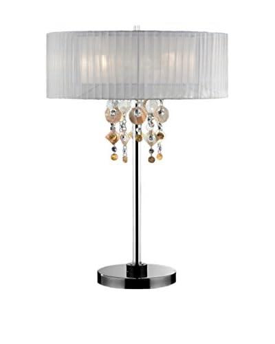 ORE International Moon Jewel 2-Light Table Lamp, Silver/Ivory