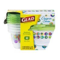 Glad Designer Series Plastic Containers And Lids Medium Rectangle 3-Cups - 4 Ct