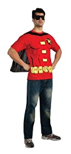 DC Comics Men's Robin T-Shirt With Cape And Mask, Red, Large