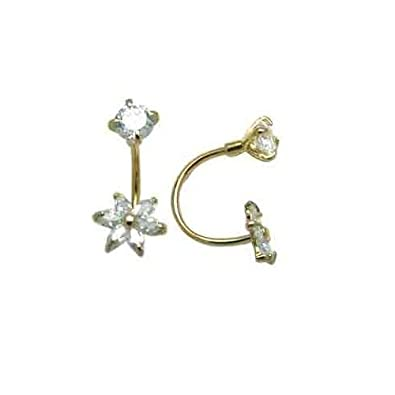 FreshTrends Open Hoop Flower Cubic Zirconia 14KT White Gold Earrings