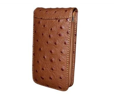 Great Price Apple iPhone 5 / 5S Piel Frama Tan Ostrich Leather Cover with Snap Closure