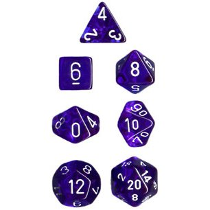 Polyhedral 7-Die Translucent Chessex Dice Set - Blue