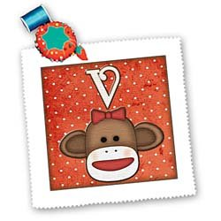 qs_102825 Dooni Designs Monogram Initial Designs - Cute Sock Monkey Girl Initial Letter V - Quilt Squares