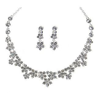 Sparkling Flower Austrian Swarovski Crystal Necklace and Earring Set For Women