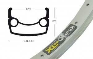 Exal Felgen Felge XL 25 26 Zoll (Ausführung: V-Brake, silber)