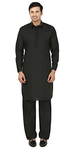 maple-kleidung-mens-pathani-kurta-salwar-set-indische-partei-wear-schwarz-l