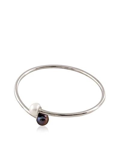 Splendid 9-9.5mm Flexible Black & White Pearl Bangle As You See