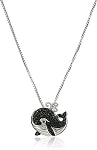 """Sterling Silver Black and White Diamond Whale Pendant Necklace, 18"""""""