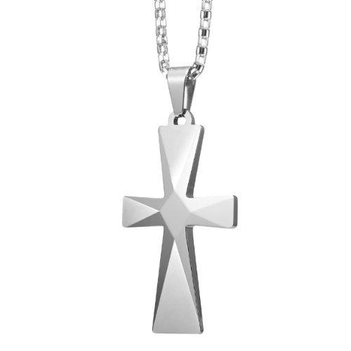 Splendid Mens Tungsten Cross Pendant Stainless Steel Chain by R&B Jewelry
