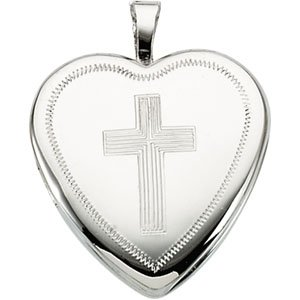 Sterling Silver 16.00X15.75 MM Locket With Cross Ring Size 6