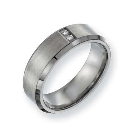 Titanium Satin and Polished with Diamonds 7mm Band Ring - Size 12 - JewelryWeb