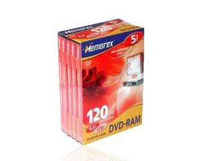 Memorex DVD RAM 4.7GB Non-Cartridge Pack 5