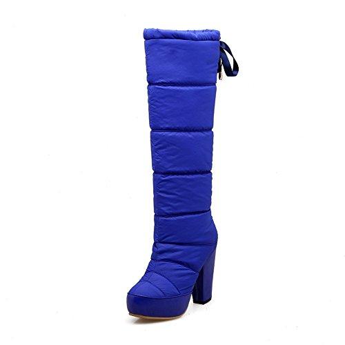 VogueZone009 Donna Piattaforma Puro Punta Tonda Allacciare Stivali, Azzurro, 34