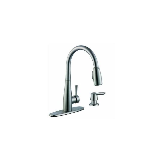 Glacier Bay 900 Series Single Handle Pull Down Sprayer Kitchen Faucet in Stainless Steel with Soap Dispenser